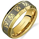 Image of Gay Pride Double Venus Symbol 8 mm Comfort Fit Gold Tone Tungsten Wedding Band Ring Size 9