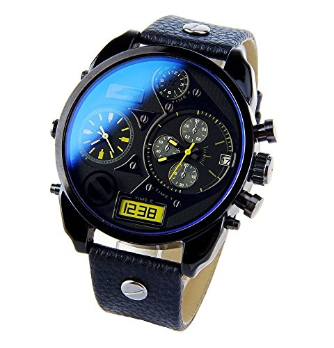 Evana D7127 Black Chronograph Blue Glass Men's Wrist Watch