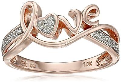 Love Diamond Promise Ring in 10K Rose Gold