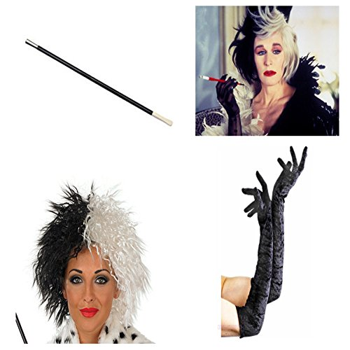 Card and Party Store Women's Cruella De Ville Long Glove Wig Cigarette Holder One Size Black/White (Cruella Deville Cigarette Holder compare prices)