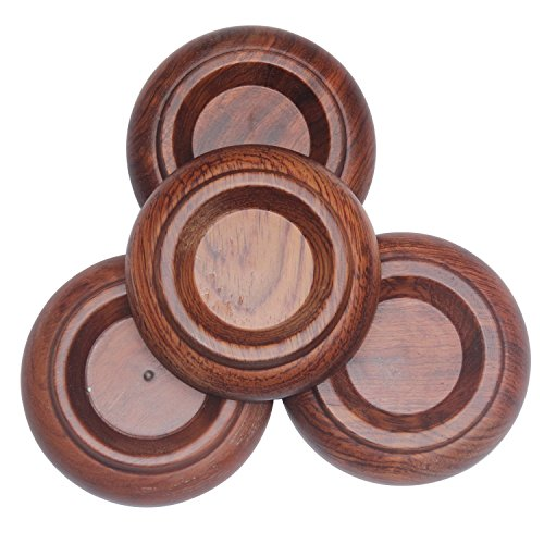 Crosstree Upright Piano Single/Double Wheel [4 Pcs] Piano Caster Cups - Premium Hard Solid Wood/Rose Wood - Non-Slip & Anti-Noise Foam Pad (Upright Piano Pad Wood PA-14 Brown) (Upright Piano Caster Cups compare prices)