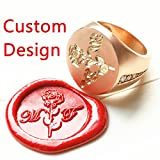 MDLG Custom Picture Logo Name Letters Your Design Luxury Rose-Gold Wedding Ring Wax Seal Sealing Stamp