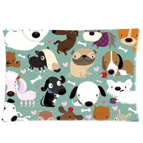 Cartoon Dog Pet Puppy Collection Custom Zippered Bed Pillow Cases 20X30 (Twin Sides) front-1077453