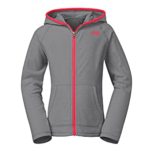 The North Face - Girls' Glacier Full Zip Hoodie - Zinc Grey Heather/Rocket Red-S1U - XX Small
