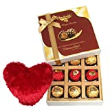 Valentine Chocholik's Belgium Chocolates - Exclusive Chocolates With Heart Pillow