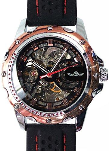 メンズ 新型3針 自動巻き 防水腕時計 オートマチッックウォッチ スチームパンク ピンクゴールド[t218]