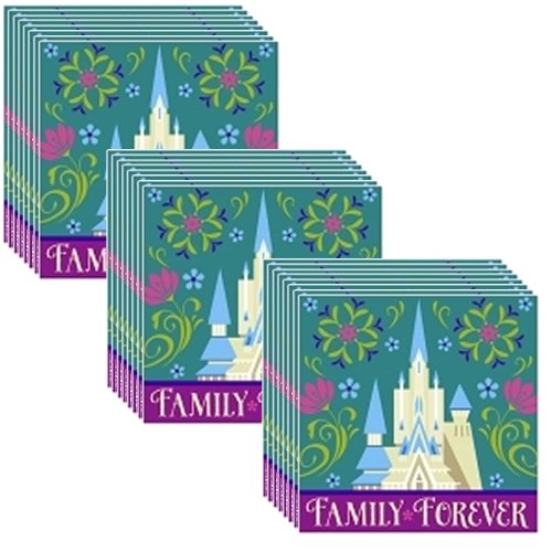 Disney Frozen Beverage Napkins - 3 packs of 16 - Total of 48 pieces