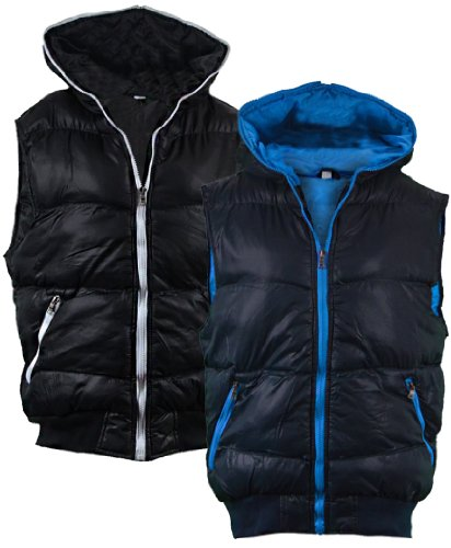 Mens Hooded Quilted Puffa Gilet in Black XXL
