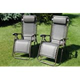 SET OF 2 Padded Garden Sun Lounger Relaxer Recliner Chairs in Tweed Weatherproof Textoline