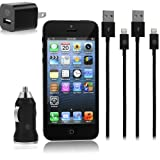 Black iPhone 5 Car & Wall Charger Set - Set Includes (2) 8 pin to USB 2.0 Charging Data Sync Cables with USB Car Charger Adapter and USB Wall Charger Adapter for iPhone 5, iPod Touch 5, iPod Nano 7, and iPad Mini