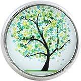 Morella Damen Glas Click-Button Druckknopf Baum grün
