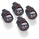 QUAD PACK! - Bosch 4 Pack Battery 10.8V 2.0 Ah Li-Ion, for example, GSR GDR GOP GWI GSA GLI GSB 1600Z0002X