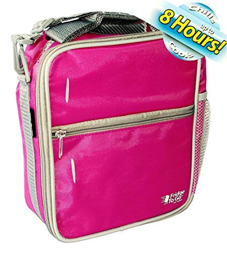 Fridge-to-go Insulated School Lunch Box Cooler for Kids – Bag Cools up to 8 Hrs – Pink by GetBacktoBasix