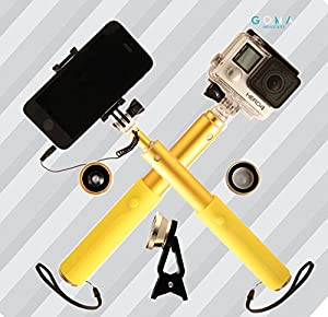 GOMA Industries Extendable Selfie Stick - Apple IOS and Android Smartphone and Gopro compatible plus clip-on lens kit - Get gorgeous self-portraits with this sturdy aluminum made monopod