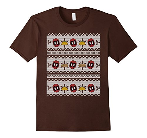 Men's Deadpool Taco Ugly Christmas Sweater Graphic T-Shirt Large Brown