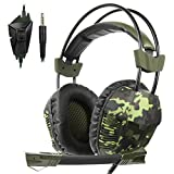 Yanni Sades SA921Plus Over Ear Stereo Gaming Headset Headband Headphones with Microphone for PC/Mac/ PS4/ Phones/Tablets Gamers(Camouflage Green) (Color: SA921Plus Green)