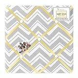 Yellow and Gray Chevron Zig Zag Fabric Memory/Memo Photo Bulletin Board by Sweet Jojo Designs