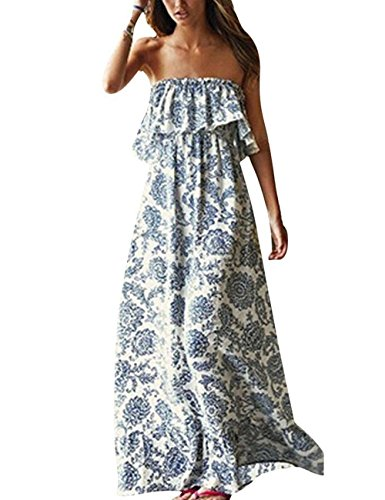 Yidarton Women Summer Blue and White Porcelain Strapless Boho Maxi Long Dress Blue Medium