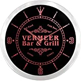 ncu46838-r VERMEER Family Name Bar & Grill Cold Beer Neon Sign LED Wall Clock