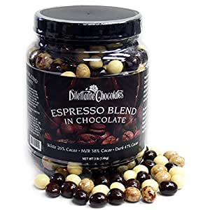 Chocolate Espresso Bean Blend - White, Milk & Dark Chocolate - 3lb Jar - by Dilettante