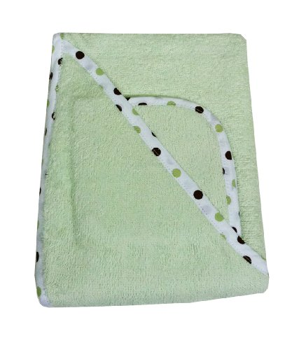 American Baby Company 100% Organic Cotton Terry Hooded Towel Set, Celery