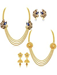 YouBella Jewellery Gold Plated Combo Of Two Necklace For Girls Fashion Party Wear Jewellery Set With Earrings...