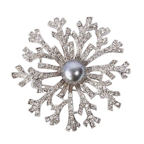 Jane Stone Black Pearl Crystal Brooches Flower