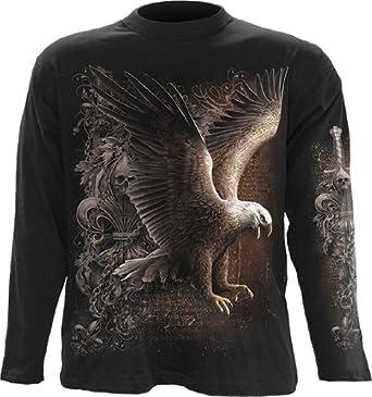 Spiral T-shirt à manches longues pour homme Motif Wings of Freedom Noir - x-large