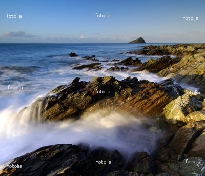 """Wallmonkeys Peel and Stick Wall Decals - Beautiful Dawn Light at Wembury Beach South West Devon - 24""""W x 21""""H Removable Graphic"""