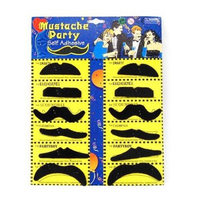 SODIAL(TM) 12 Pack Self Adhesive Assorted Fake Moustache / Mustache Set Fancy Dress Party Birthday Stylish