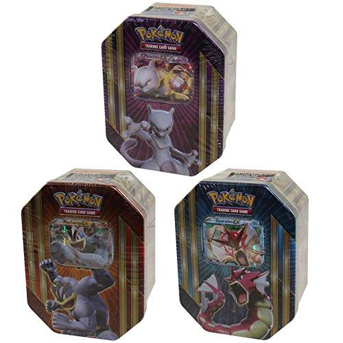 Pokemon-2016-Triple-Power-Tins-Mewtwo-EX-Set-TCG-Card-Game-GET-ALL-3-TINS