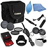 Fotodiox 18-item Camera Gadget Bag Kit for Canon Digital Rebel t1i, t2i, t3, T3i, T4, T4i, xt, xti, xs, xsi 300d, 350d, 400d, 450d, 500d, 550d, 1000d 1100d, 600d, with 18-55mm Kit lens, Includes- Camera Bag, 3-58mm Filter Kit (UV, Circular Polarizer, Dif