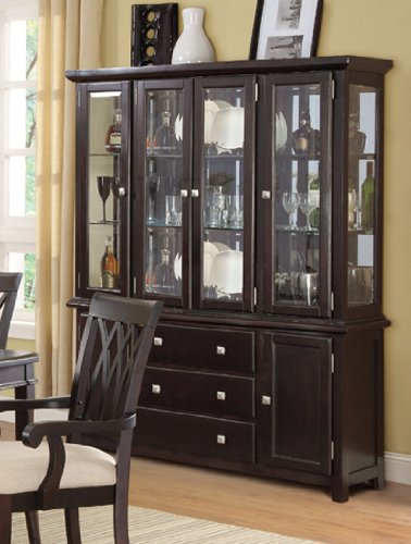 Cheap China Cabinet Buffet Hutch with Storage Drawers – Dark Brown (VF_F6170)