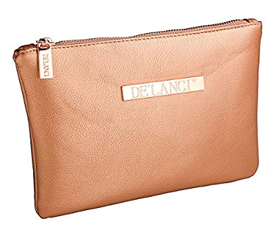 DE'LANCI Cosmetic Bag - Makeup Pouch - Make Up Leather Bag Rose Gold