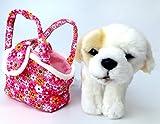 Brigamo Spiele 9843 - Plüsch Hund oder Katze im Handtäschchen, 21 cm (Golden Retriever im rosa Täschchen) - 3