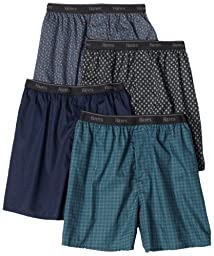 Hanes Men\'s 4-Pack Classics Woven Printed Boxers, Assorted, Medium