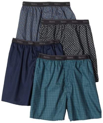 Hanes Men's 4 Pack Classics Woven Printed Boxers