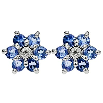Ornami Glamour 9ct White Gold Tanzanite and Diamond accent Flower Stud Earrings