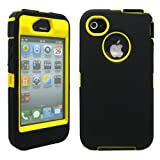 GEARONIC TM Black & Yellow Three Layer Silicone PC Case Cover for iPhone 4 4G 4S
