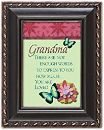 Grandma You Are Loved Distressed Black Cottage Garden Tiny Frame with Easel and Magnet