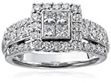 14k-White-Gold-with-Princess-and-Rounds-Diamond-Quad-Ring-2cttw-H-I-Color-I2-I3-Clarity