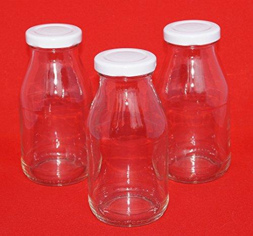 SLK GmbH - 20 Petites Bouteilles Verre Vides 200ml Pour Jus Vinaigre Huile Liqueur Alcool Lait 0.2l Couvercle Blanc de slkfactory