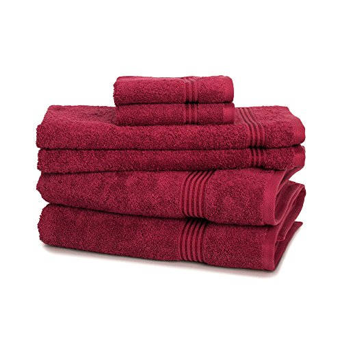 Egyptian Cotton Towel Set - 6-Piece 600GSM - Medium Weight & Absorbent by ExceptionalSheets, Burgundy (Turkish Bath Sheet 900 Gsm compare prices)