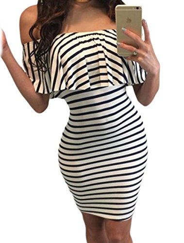 TomYork Black White Striped Off-shoulder Bodycon Dress(Size,L)