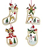 Set of Four Wooden Christmas Tree Decorations