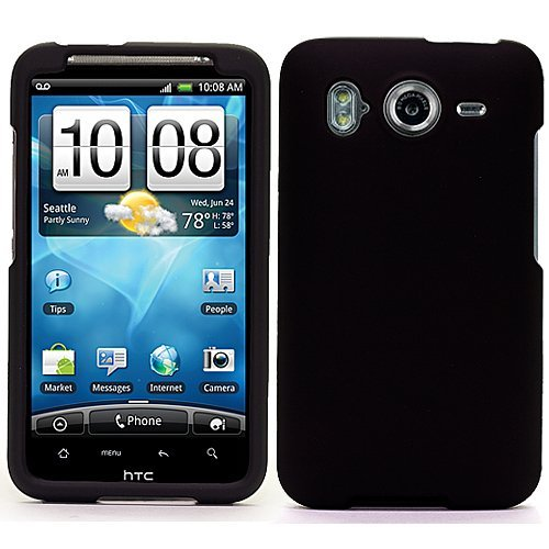 Black Durable Protective Rubberized Crystal Hard Case Cover for AT&T Wireless HTC Inspire 4G Android Smart Phone