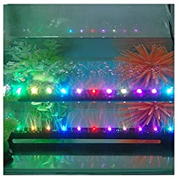Candance® 12inch/31cm 12LEDs RGB 3W 12V Energy Saving LED Fish Tank Aquarium Bar Stick Strip Waterproof Submersible Light Lamp LED Aquarium Light Bar Strip for Aquarium Fish Tank Flood Lights (12inch/31cm RGB slow flashing)