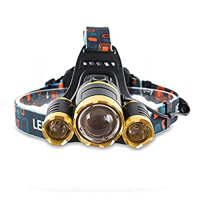 LED Headlamp,TOPBRIGHTTRADE Zoomable Rechargeable LED Head Torch Light with 4 Modes, 5500LM 3x T6 Head Torches Waterproof Headlamps Headlights Flashlight Camping Hiking Fishing