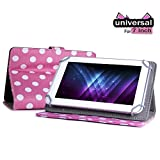 """Gadget Giant Retro Designer CnM TOUCHPAD 7 Universal 7"""" 7 Inch Tablet Leather Folding Folio Stand Case Cover Pouch With Adjustable Multi Point Stand - Pink & White Polka Dot Dots - New Improved Design With 4 Secure Clasps For Added Safety"""