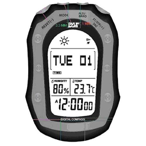 Pyle PSHWM22BK  Weather Station with Weather Forecast, 58 World Time, Temp, Altimeter, Barometer, Digital Compass, Black